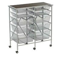 Origami 10 Drawer Rolling Cart with Wood Top