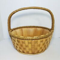 "Vintage Woven Gathering Basket 11.75"" Wood Bottom Market Farmhouse Decor Cottage"