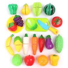 22Pcs Children Pretend Role Play Toy Set Kitchen Vegetable Fruit Cutting Set !