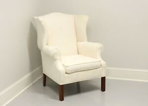 Vintage Mahogany Frame Chippendale Style Wing Back Chair in Neutral Fabric
