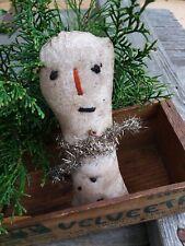 Mini primitive snowman bowl filler folk art country homemade winter