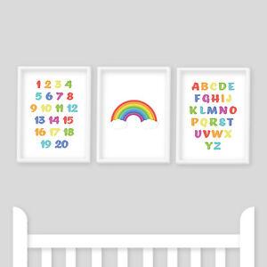 Nursery Prints - Set of 3 Alphabet, Numbers, Rainbow Themed, Baby Boy or Girl