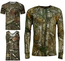 Men's Forrest Camouflage T-shirt Realtree Camo Print Long Short Sleeveless Top
