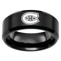 Black Montreal Canadiens NHL Teams Stainless Steel Arc Edge Ring Band Size 6-13