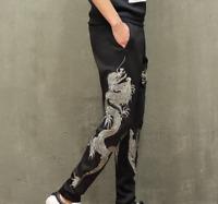 Fashion men Chinese vintage vogue dragon printed long casual long pants trousers
