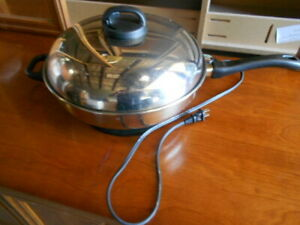 "Vintage Revere Ware 12"" Stainless Steel Electric Skillet Works"