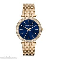 NEW MICHAEL KORS MK3406 LADIES GOLD AND BLUE DARCI WATCH - 2 YEARS WARRANTY