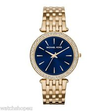 NEW MICHAEL KORS MK3406 LADIES GOLD AND BLUE DARCI WATCH - 2 YEAR WARRANTY