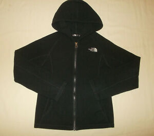 THE NORTH FACE FULL ZIP HOODED BLACK FLEECE JACKET GIRLS 6 EXCELLENT CONDITION