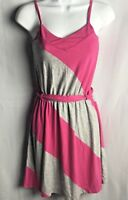 Aeropostale Sun Dress Women Jr Size XS Pink Gray Cotton Spaghetti Strap