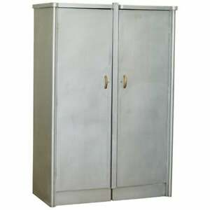 HUNTINTON AVIATION INDUSTRIAL ART DECO DOUBLE WARDROBE ALUMINIUM FRAME DRAWERS