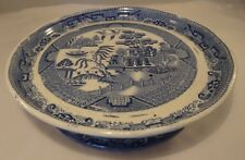 """Antique Blue White Willow Pattern 10.5"""" Footed Cake Serving Dish Or Stand c1830"""
