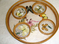 Vintage Set Wooden Glass Serving Tray and Coasters Butterflies