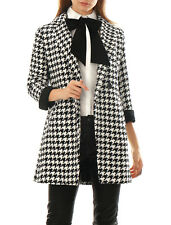 Women Houndstooth Pattern Double Breasted Worsted Coat Black XS