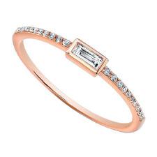 1/9 Ct Baguette Cut D/VVS1 Solid 14K Rose Gold Anniversary Band Ring