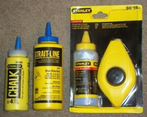 NEW IN PACKAGE STANLEY 50' CHALK LINE REEL & CHALK WITH 2 EXTRA CHALK CONTAINERS