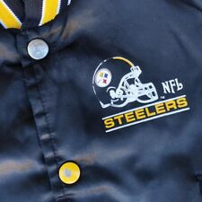 Vtg Chalkline Pittsburgh Steelers Black Button Up Jacket - Size Boys 5