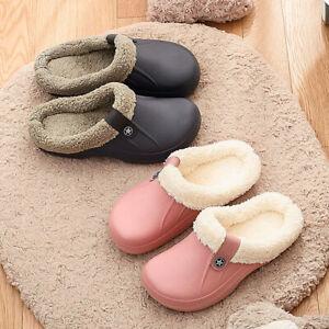 Women Mens Waterproof Slippers Furry Lined Clogs Winter Garden Shoes Warm Mules