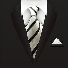 Men's Black White Striped Ties 100% Silk JACQUARD WOVEN Suits Tie Necktie A105