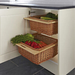 2 pcs x Wicker Kitchen Baskets for 500 mm Width Cabinets With Runners & Handle