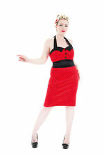 Red Polka Dot Fitted Halterneck Pencil Dress 50's Style BNWT UK 18