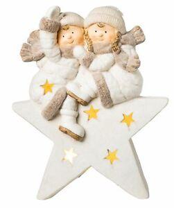XL 45cm Dekofigur Weihnachtsstern mit Kinder Weihnachtsdeko LED weiß Weihnachten