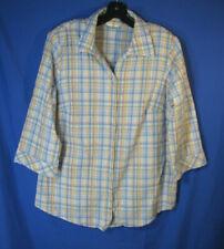 ALLISON DALEY 3/4 Sleeve Shirt Top MULTICOLOR PLAID Button-Down STRETCH sz 18W