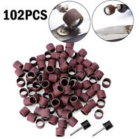 100Pcs1/2 80Grit Sanding Bands Sleeves Drums With 2 Mandrels For  Rotary Tool