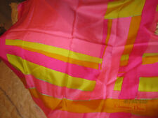 """Christian Dior vintage 1960s silk scarf in hot pink and chartreuse 32"""" square"""