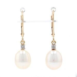 Yellow Gold Freshwater Pearl & Diamond Dangle Earrings - 14k Single Cut Pierced