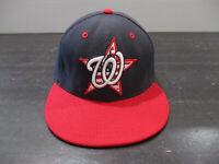 New Era Washington Nationals Hat Cap Fitted 7 1/8 Blue Red MLB Baseball Mens