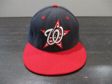 New Era Washington Nationals Hat Cap Fitted 7 1/8 Blue Red MLB Baseball Mens