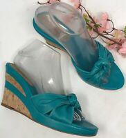 Antonio Melani Blue Leather Cork Wedge Sandals Womens Size 8 M Turquoise Slides