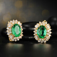 2.00 Carat Oval Cut Green Emerald & Diamond Stud Earrings 14k Yellow Gold Finish