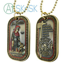 Firefighter Dog Tag St. Florian Patron Saint Challenge Coin Brotherhood Gift