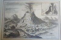 Incisione all'acquaforte su rame Vesuvio Eruzione del De Fer Metà '700 (P399)