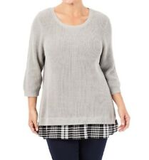 Plus Size Beme Grey Cotton/Nylon 3/4 Sleeve Check Woven Hem Jumper Size 16-18