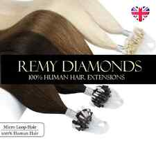 """22"""" 1G THICK Micro Loop Easy Bead 100% Real HUMAN Hair Extensions Straight UK"""