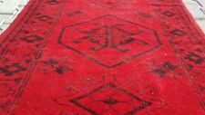 """Attractive  Antique Cr1930-1939s Overdyed 3'2""""×4'9"""" Oushak Rug"""