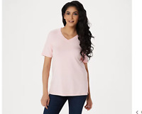 Isaac Mizrahi Live! SOHO V-Neck Elbow- Sleeve Knit Top w/ Side Insets Pink Large