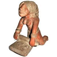 "Mexican Folk Art Clay Terracotta Pottery Aztec Maya, Woman Rolling Corn, 7 1/2"""
