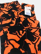 LuLaRoe TC2 18+ Legging Orange Black Kitty Cats Halloween NWT