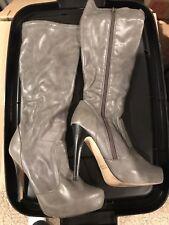 Bakers Gray Knee High Boots Dress Platform High Heels stretchy warm fall winter