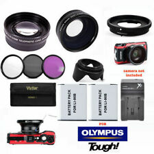 WIDE ANGLE LENS  ZOOM LENS + BATTERIES + FILTERS + CHARGER FOR OLYMPUS TG3 TG4