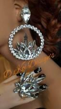 Jewelry Drag Queen Large hoop Crystal Set earrings Custom Large clip on clipon