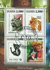 Timbres Chats Ouganda 2594/7 o année 2013 lot 19187 - cote : 12 €