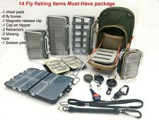 Fly Fishing Chest Pack Sling Compartment Fly Box Retractor Nipper Scissor Piler