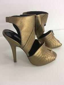 Women's Asos Gold Open Toe With Zips High Heel shoe Size 5