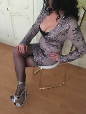 Damen woman evening Abendkleid Gr S grau violett elegant ladylike Abiball Fest
