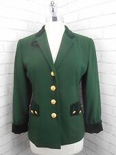 Vintage 1980s Ladies Mondi Dark Green Fitted Wool & Velvet Blazer Jacket EU 36 8